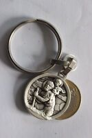 Médaille Religieuse Saint Christopher Key Ring French Silver 2.5 cm Diameter