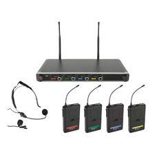 Chord NU4-N Quad UHF Wireless Microphone System Lapel Headset School Theatre