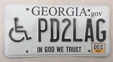 "GEORGIA HANDICAPPED LICENSE PLATE  "" PD2 LAG "" GA   IN GOD WE TRUST   WHEELCHAIR"