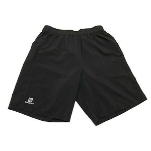 "Salomon Advanced Skin Active Dry LINED Black Running Shorts Mens M - 9"" Inseam"