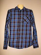 Shout House Men's Black/Blue Plaid L/S Button Up Shirt - Size Small - NWT