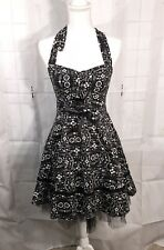 Book of Life Pinup Halter Dress Day of the Dead  Size Small Black/White NWT