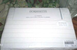 ✳️White gray Stripe CAL KING Sheet Set German Cotton Flannel THE BEST:Dormisette