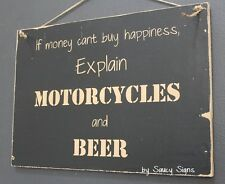 Motorcycles and Beer Sign - Biker Bar Garage Man Cave Moto GP Harley Davidson