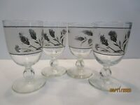 Four Vintage Mid Century 8 oz Glass Wine Goblets Frosted Wheat Pattern