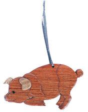 Pig - Double-sided Wood Intarsia Christmas Tree Ornament - Farm Mammal theme