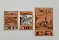 FELDBERG REUTERGELD NOTGELD 10, 25, 50 PFENNIG 1922 NOTGELDSCHEINE (12003)