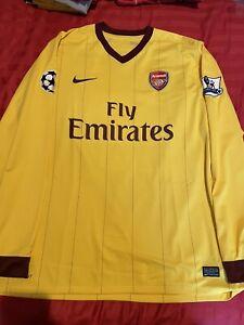 Arsenal Away Shirt Jersey 2010/11 Long Sleeve LS Mens XL Wilshere Patches