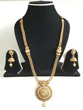 New Indian Polki Necklace Set Gold Plated Silver Stone Jewellery