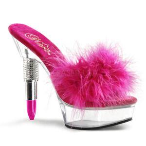 """AU STOCK Pleaser Rouge-601 Slide US9 Pink Fluffy Clear Platform 6"""" Heels"""