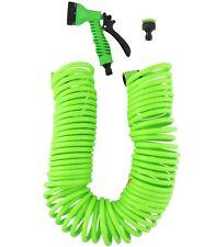 Kenzo 15 metre Coil garden Hose Kit 7 function Spray Gun Nozzle 50Ft Return to o