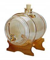 Baril distributeur à vin Bourbon Brandy Tonneau pour stockage boissons 5L Verre