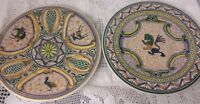 Pair Of VINTAGE HAND PAINTED Plates Real Ceramica Coimbra Portugal SIGNED Design