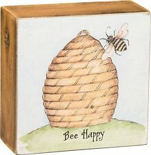 "BEE HAPPY Colorful Wooden Box Sign 4"" x 4"", Primitives by Kathy"