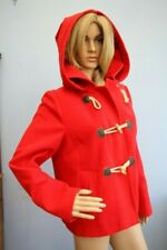 Marks & Spencer Red Mid Length Jacket Zip Duffle Coat with Hood Size 12
