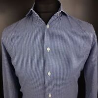 Tommy Hilfiger Mens Casual Shirt 39/15.5 SMALL Long Sleeve Blue Fitted  Cotton