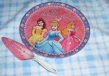 New Disney Princess Cinderella Belle Aurora 2pc Cake Plate & Server Set