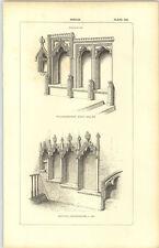 1850 Incisione Sedilia willesborough Kent Merton Oxfordshire