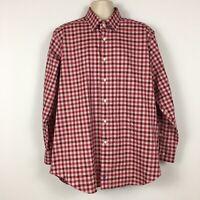 David Donahue 17 1/2 34/35 Pink Checkered Shirt Long Sleeve Button Down Cotton