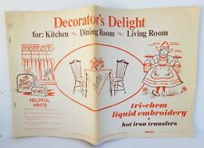 Vintage Decorator's Delight Tri-Chem Liquid Embroidery Iron On Transfers Book