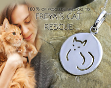 STERLING SILVER CAT PENDANT TAG CHARM COLLAR FINE JEWELRY FREYAS RESCUE LOGO