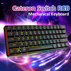 GK 61 Keys Gaming Mechanical Keyboard Full Color RGB Gateron Switch Waterproof