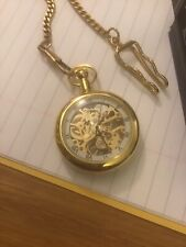 Double Sided - Gold Coloured Pocket Watch With Chain -