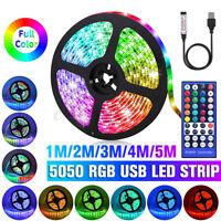 STRISCIA A LED RGB USB 1-5M 5050 SMD ADESIVA LUCE STRIP CON 44Key IR TELECOMANDO