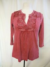 Ladies Top Tunic Lucky Brand size S burgundy red stretch cotton, 3/4 sleeve 0034