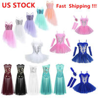 US Kids Girls Lyrical Ballet Dress Sequined Praise Leotard Maxi Skirts Dancewear
