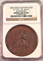 Swiss 1890 Bronze Shooting Medal Solothurn R-1121c M-645 Mintage-860 NGC MS65