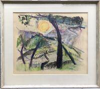 Gerda Akesson 1909-1992 Baum im Abendlicht Expressiv Schweden 60 x 68