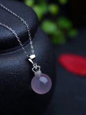 Natural Rose Quartz Star Light Silver Ball Necklace Sphere Pendant 11mm AAAAA