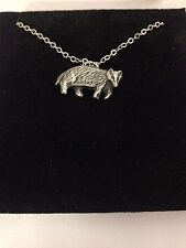 Badger R158 English Pewter on a Silver Platinum Plated Necklace 18""