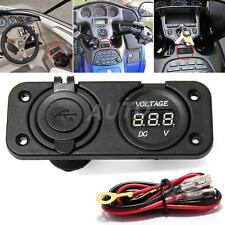 12V Dual USB Car Charger Adapter Socket Cigarette Lighter Voltmeter Motorcycle