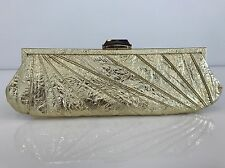 KOTUR GORGEOUS GOLD LEATHER CLUTCH JEWELED CLASP