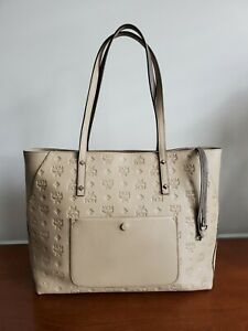 "MCM 14"" Klara Embossed Monogram Double Handle Zippered Tote Shopper Bag - Taupe"
