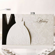 50 Personalize Printing Bride and Groom Wedding Invitations Card Envelopes Seals