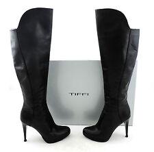 Tiffi Stiefel 36 schwarz high heels wie neu black boots Leder bottes top