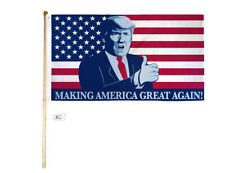 5' Wood Flag Pole Kit Wall Bracket 3x5 Trump Thumb Up Making America Great Again
