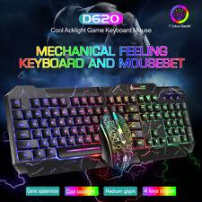 Backlit Mechanical Feeling Wired LED Illuminated Gaming Keyboard and Mouse Set