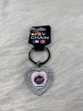 New York Mets Bling Rhinestone Heart Key Chain New!!