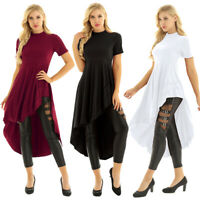 Women Casual Loose Ruffle Blouse Tops Irregular High Low Fashion T-Shirt Dress