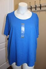 NorthCrest Casual Tee T Shirt Cotton Top Solid Blue Short Sleeve Round-Neck 3X