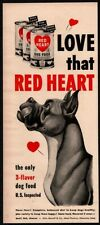 1952 Red Heart Dog Food - Cute Great Dane Dog Art - Scooby Doo Vintage Ad