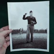 Vintage WWII Era Photograph of US Military General Playing Baseball 9x7""