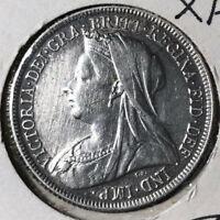1897 Great Britain 1 Shilling Queen Victoria Silver Coin VF/XF Condition