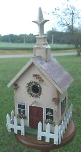Birdhouse Church with Picket Fence Wooden Hand-Painted    MAR21