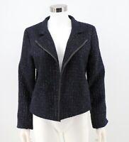 Chicos Blazer Jacket Size 1 / Medium Navy Blue Metallic Boucle Open Front Womens