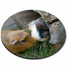 Round Mouse Mat - Cute Guinea Pig Couple Pet Animal Office Gift #8247